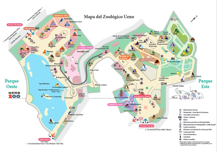 Mapa del Zoo Ueno