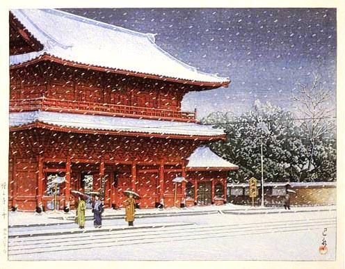 """""""Nieve en el templo Zozoji"""", de Kawase Hasui, 1953 (Tesoro Nacional Inmaterial)."""