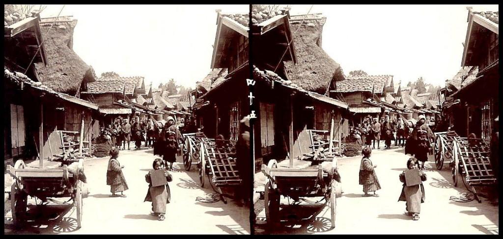Escena cotidiana de una calle en el medio rural. T. Enami.